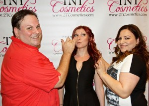 Makeup artist Robert Hensley and Hair stylist Ruzanna Kirakosyan touch up actress Danielle Inks on the Red Carpet.