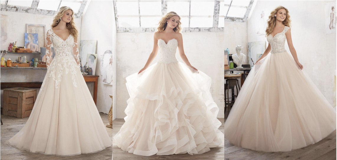 Elegant bridal gowns inspired by belle in beauty and the for Beauty and the beast style wedding dress